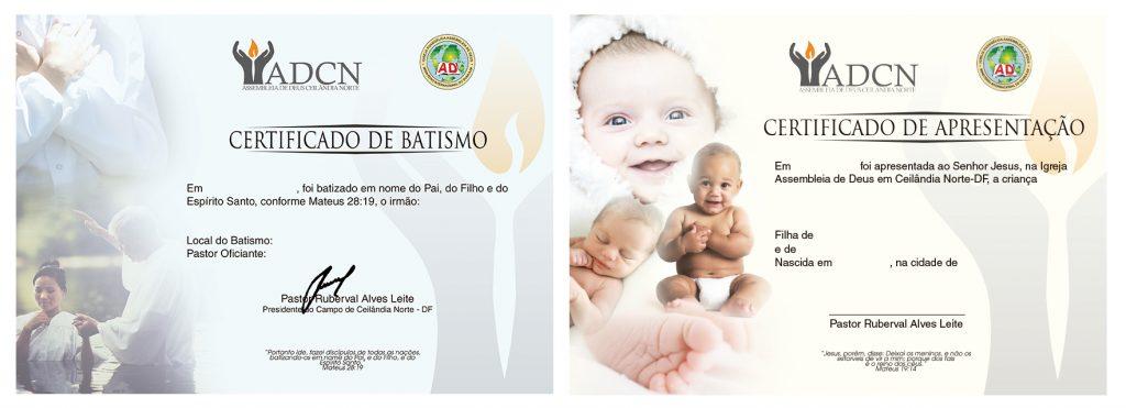 Modelos de certificados de batismo e apresentação de crianças ADCN